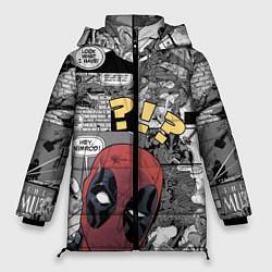 Женская зимняя 3D-куртка с капюшоном с принтом Deadpool, цвет: 3D-черный, артикул: 10275016106071 — фото 1