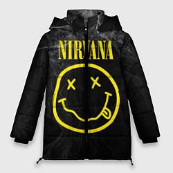 Женская зимняя 3D-куртка с капюшоном с принтом Nirvana Smoke, цвет: 3D-черный, артикул: 10063913606071 — фото 1