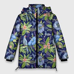 Женская зимняя 3D-куртка с капюшоном с принтом Голубые попугаи, цвет: 3D-черный, артикул: 10065279506071 — фото 1