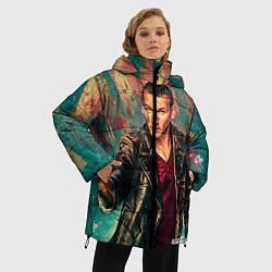 Женская зимняя 3D-куртка с капюшоном с принтом Доктор кто, цвет: 3D-черный, артикул: 10065374006071 — фото 2