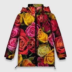 Женская зимняя 3D-куртка с капюшоном с принтом Ассорти из роз, цвет: 3D-черный, артикул: 10067033006071 — фото 1