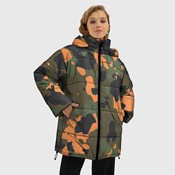 Куртка зимняя женская Камуфляж: хаки/оранжевый цвета 3D-черный — фото 2