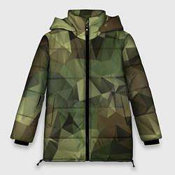Куртка зимняя женская Полигональный камуфляж цвета 3D-черный — фото 1