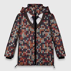 Куртка зимняя женская Вязанный узор с галстуком - фото 1