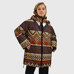 Куртка зимняя женская Зимний узор с галстуком - фото 2