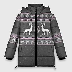 Куртка зимняя женская Узор с оленями цвета 3D-черный — фото 1