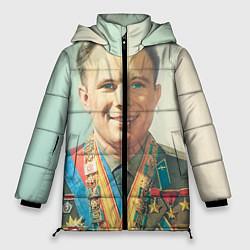 Женская зимняя 3D-куртка с капюшоном с принтом Гагарин в орденах, цвет: 3D-черный, артикул: 10082403806071 — фото 1