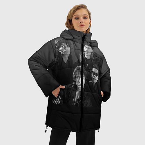 Женская зимняя куртка Группа Кино / 3D-Черный – фото 3