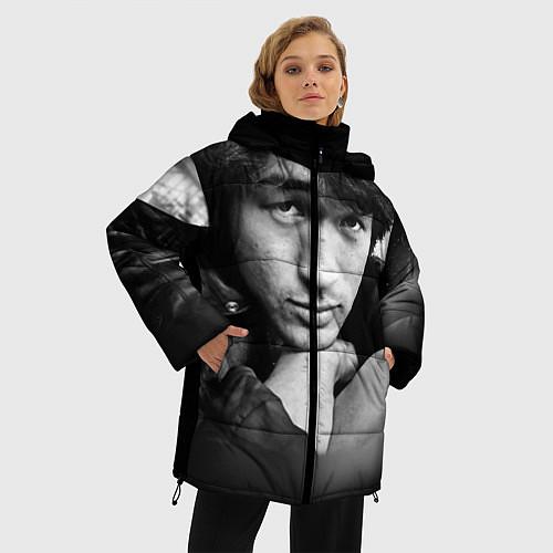 Женская зимняя куртка Виктор Цой / 3D-Черный – фото 3