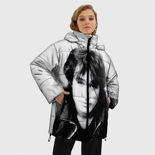 Женская зимняя куртка Кино: Виктор Цой / 3D-Черный – фото 3