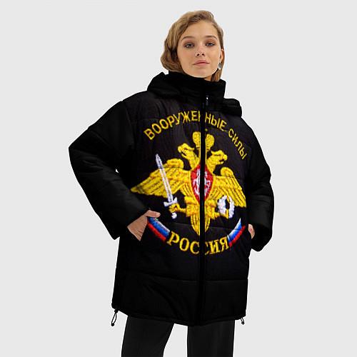 Женская зимняя куртка ВС России: вышивка / 3D-Черный – фото 3