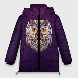 Женская зимняя 3D-куртка с капюшоном с принтом Расписная сова, цвет: 3D-черный, артикул: 10086919706071 — фото 1
