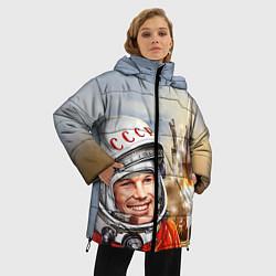 Женская зимняя 3D-куртка с капюшоном с принтом Гагарин взлетает, цвет: 3D-черный, артикул: 10091681006071 — фото 2