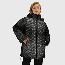 Куртка зимняя женская Черная кожа - фото 2