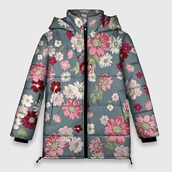 Женская зимняя 3D-куртка с капюшоном с принтом Цветочки, цвет: 3D-черный, артикул: 10096493306071 — фото 1