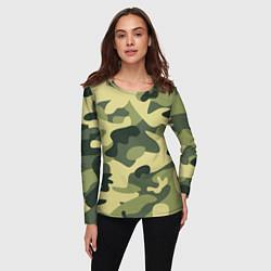 Лонгслив женский Камуфляж: зеленый/хаки цвета 3D — фото 2