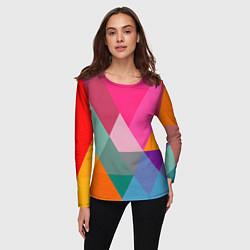 Лонгслив женский Разноцветные полигоны цвета 3D — фото 2