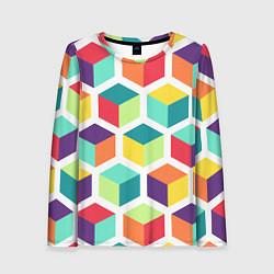 Лонгслив женский 3D кубы цвета 3D — фото 1