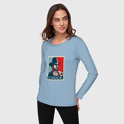 Лонгслив хлопковый женский Chuck Poster цвета мягкое небо — фото 2