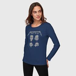 Лонгслив хлопковый женский Литература цвета тёмно-синий — фото 2
