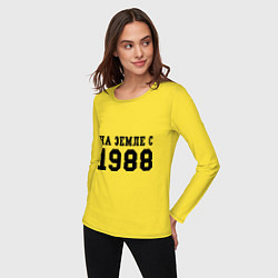 Лонгслив хлопковый женский На Земле с 1988 цвета желтый — фото 2