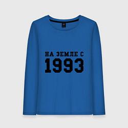 Лонгслив хлопковый женский На Земле с 1993 цвета синий — фото 1