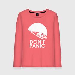 Лонгслив хлопковый женский Elon: Don't Panic цвета коралловый — фото 1