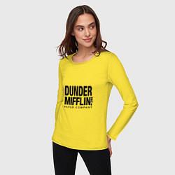 Лонгслив хлопковый женский Dunder Mifflin цвета желтый — фото 2