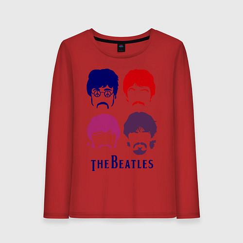 Женский лонгслив The Beatles faces / Красный – фото 1