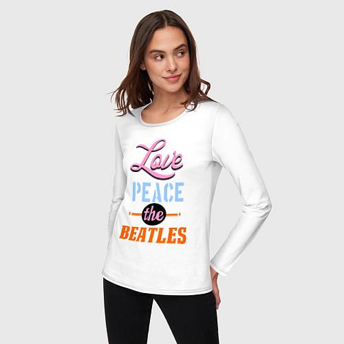 Женский лонгслив Love peace the Beatles / Белый – фото 3