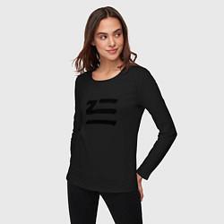 Лонгслив хлопковый женский ZHU цвета черный — фото 2