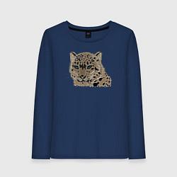 Лонгслив хлопковый женский Metallized Snow Leopard цвета тёмно-синий — фото 1