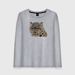 Лонгслив хлопковый женский Metallized Snow Leopard цвета меланж — фото 1