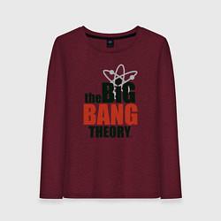 Лонгслив хлопковый женский Big Bang Theory logo цвета меланж-бордовый — фото 1