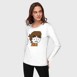 Лонгслив хлопковый женский George Harrison Boy цвета белый — фото 2