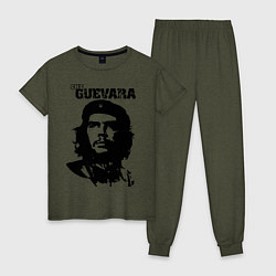 Пижама хлопковая женская Che Guevara цвета меланж-хаки — фото 1