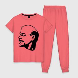 Пижама хлопковая женская Ленин: скульптура цвета коралловый — фото 1