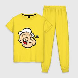 Пижама хлопковая женская Popeye Face цвета желтый — фото 1