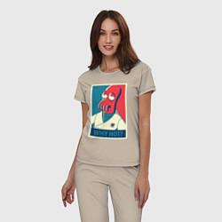 Пижама хлопковая женская Zoidberg: Why not? цвета миндальный — фото 2