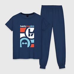 Пижама хлопковая женская Twenty One Pilots цвета тёмно-синий — фото 1