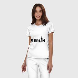 Пижама хлопковая женская Берлин цвета белый — фото 2