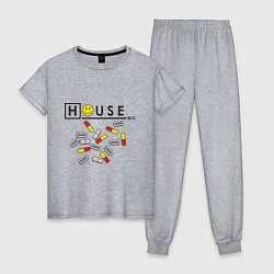 Пижама хлопковая женская House M.D. Pills цвета меланж — фото 1