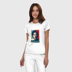 Пижама хлопковая женская Lennon Imagine цвета белый — фото 2