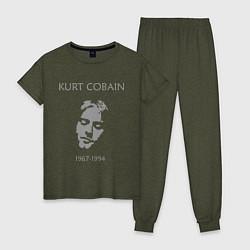 Пижама хлопковая женская Kurt Cobain: 1967-1994 цвета меланж-хаки — фото 1