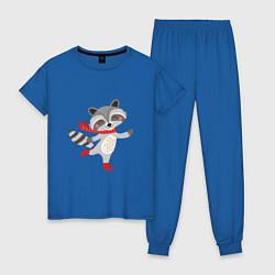 Пижама хлопковая женская Новогодний енот цвета синий — фото 1