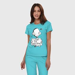 Пижама хлопковая женская I want to believe цвета бирюзовый — фото 2