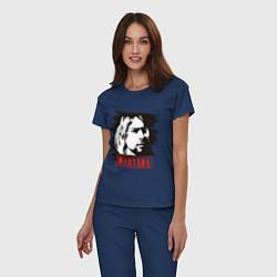 Пижама хлопковая женская Nirvana: Kurt Cobain цвета тёмно-синий — фото 2