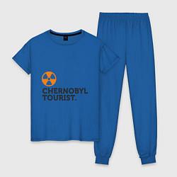 Пижама хлопковая женская Chernobyl tourist цвета синий — фото 1