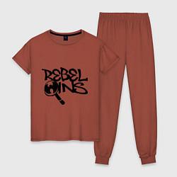 Пижама хлопковая женская Wu-Tang - Rebel Ins цвета кирпичный — фото 1