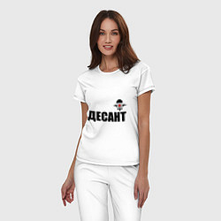 Пижама хлопковая женская Десант ВДВ цвета белый — фото 2